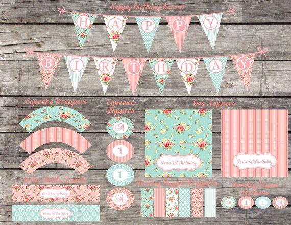 Shabby Chic para imprimir chicas bricolaje primer cumpleaños bebé fiesta despedida de soltera Banner Digital Cupcake Toppers botella de agua etiquetas envolturas paquete