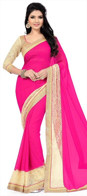 700624 Pink and Majenta  color family Party Wear Sarees in Faux Georgette fabric with Lace work   with matching unstitched blouse.