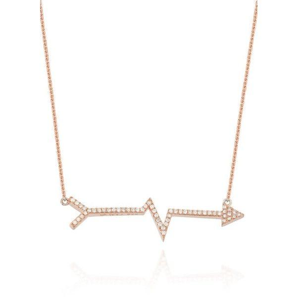 Belk  Co. Rose Gold Diamond Heartbeat Arrow Necklace In 14K Rose Gold (3.110 BRL) ❤ liked on Polyvore featuring jewelry, necklaces, rose gold, rose gold jewelry, red gold necklace, chain necklace, 14k rose gold jewelry and 14k chain necklace