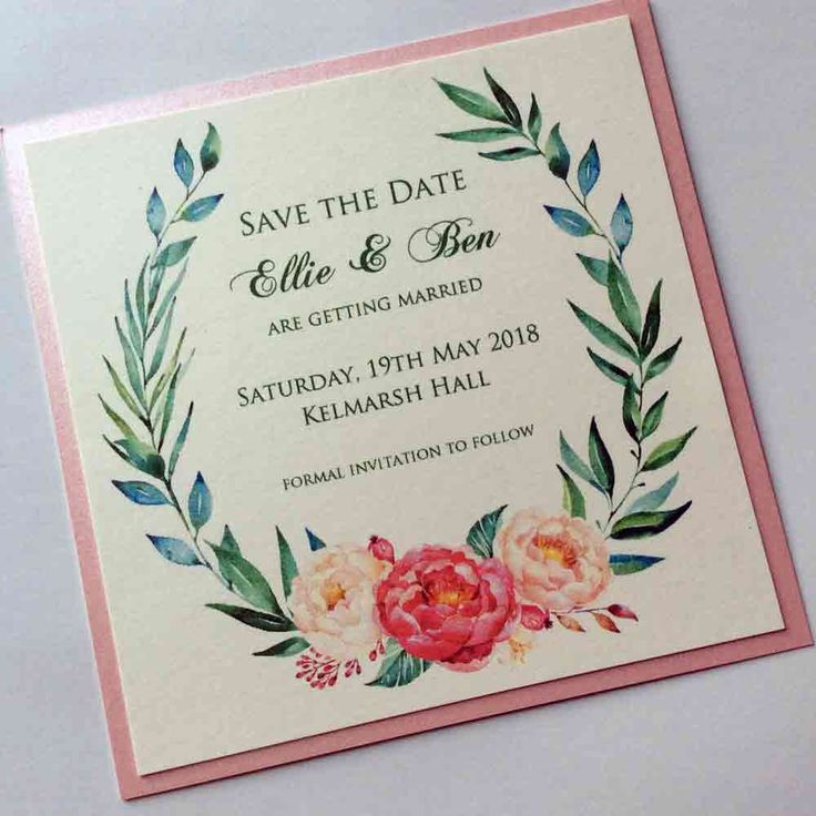 Watercolour Peonies Save the Date