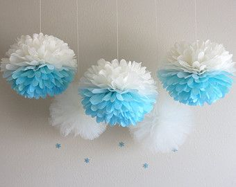 Congelado Pom Poms / / Congelados Festa / / Ombre Pom Poms / / Congelados Decoração / / Winter Wonderland / / Festa Poms / / Pom Poms / / azul