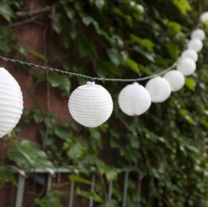 Set of 30 Oriental Round White Solar Nylon String Lights - High Quality Solar Panel