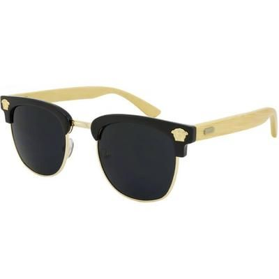 """Ξύλινα Γυαλιά Ηλίου Bamboo Clubmaster """"Costa""""-BLACK-e-chap"""