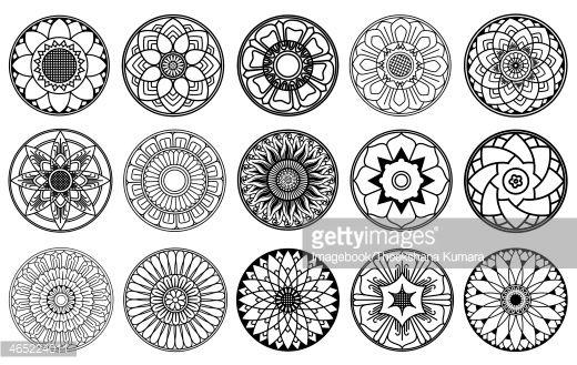 Stock Illustration : Lotus Flowers Circle Design.