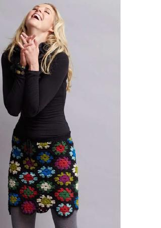 Crochet granny square skirt.Works for her.