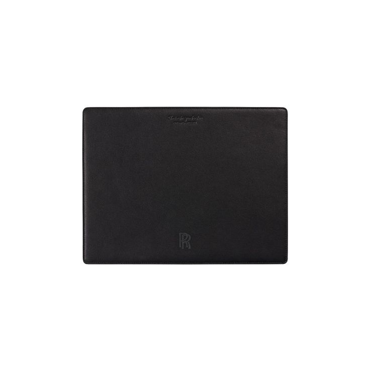 Mouse Mat. Made from high quality black leather, the Rolls-Royce monogram is embroidered on face and the underside is lined with non-slip black Alcantara Suede.