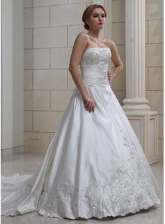 Cool Ball Gown Sweetheart Royal Train Satin Wedding Dress With Embroidery Beading