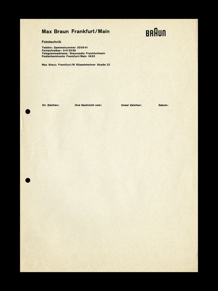 ▼ Letterhead design for Braun, Designed by Peter Seitz under the direction of Otl Aicher at the Hochschule für Gestaltung Ulm, 1950s. Part of a series of selected unpublished images from Peter Seitz: Designing a Life