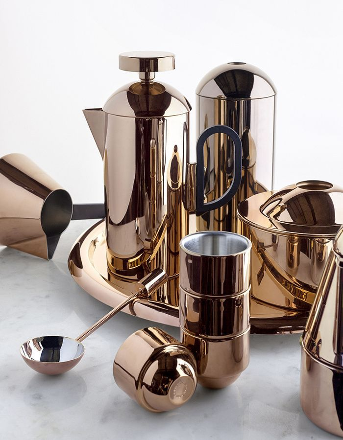 """Tom Dixon debuted his new Brew range as a gleamingly copper """"tribute to the mysteries of the modern-day coffee ceremony.""""Paris Design Week 2015"""
