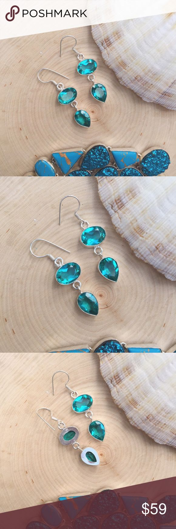 Faceted Tourmaline Earrings 🎉New, handmade! (V008)  Price neg. no trades 15% bundle discount three or more Sterling Silver Jewelry  Jewelry Earrings