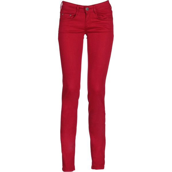 CIMARRON Jean slim Rouge ($68) ❤ liked on Polyvore featuring jeans, pants, red, rouge, roupas, red slim jeans, slim jeans, red jeans, cimarron jeans and petite jeans