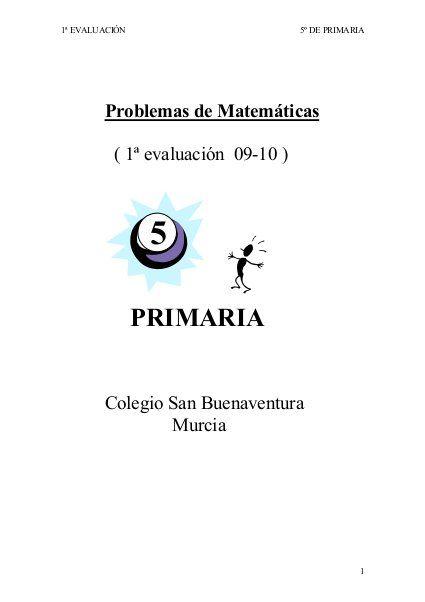 Coleccion de problemas de matematicas 5 quinto de primaria