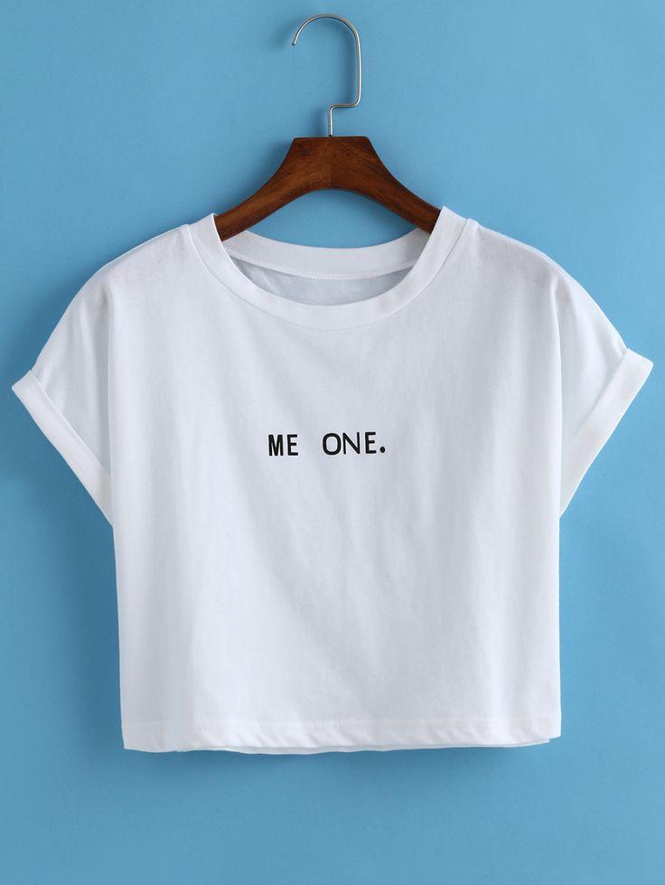 Letter Print Crop White T-shirt -SheIn(Sheinside)