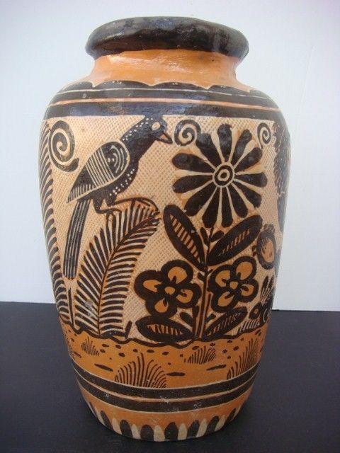 Old Vintage Mexican Tlaquepaque Tonala Folk Art Pottery