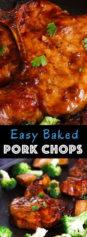 Baked Bone-in Pork Chops are juicy, tender, sticky and garlicky. They are full o…