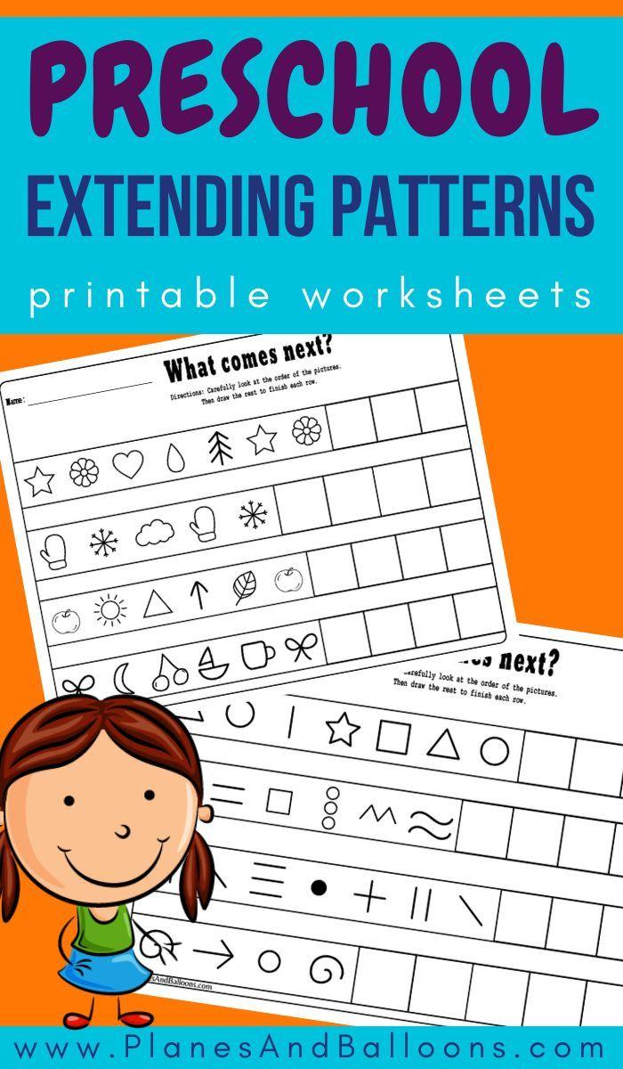 Extending Patterns Worksheets Pattern Worksheet Math Activities Preschool Kindergarten Math Activities [ 1200 x 700 Pixel ]