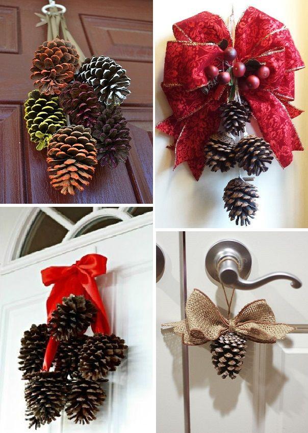 pinhas na decoração de natal - porta