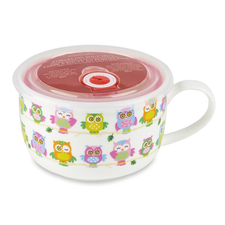 Maison Plus Microwave Me Owl Pals Bone China Bowl with Date Lid | The cutest way to take your soup with you on the go. Microwave and enjoy! #microwave #soupmug #soup #kitchen
