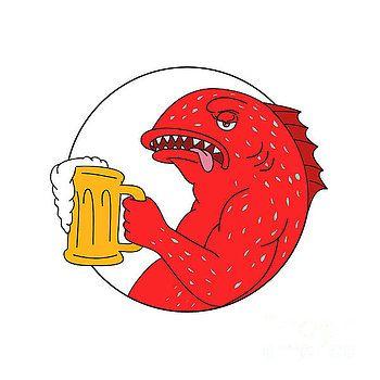 Coral Trout Beer Mug Circle Drawing by Aloysius Patrimonio