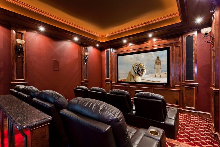 Beautiful Traditional Red Home Theater Conversion By
