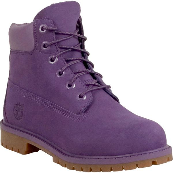 "Timberland 6"" Classic Women's Lace Up Boot ($110) ❤ liked on Polyvore featuring shoes, boots, purple, timberland shoes, waterproof shoes, laced up shoes, lacing boots and water proof shoes"