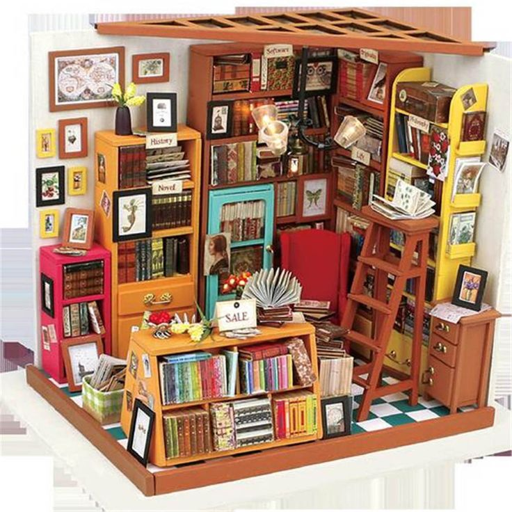 DIY Doll House The Book Shop Dollhouse Miniature 3D LED Furniture Kit Light Box #UnbrandedGeneric