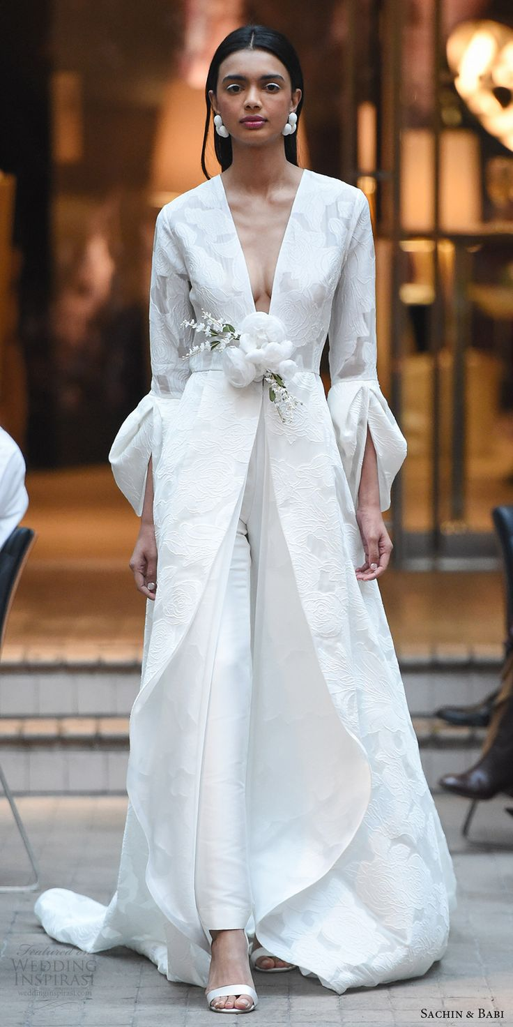 sachin babi spring 2018 bridal long sleeves v neck floor length coat pant (1) mv -- #wedding #bridal #runway