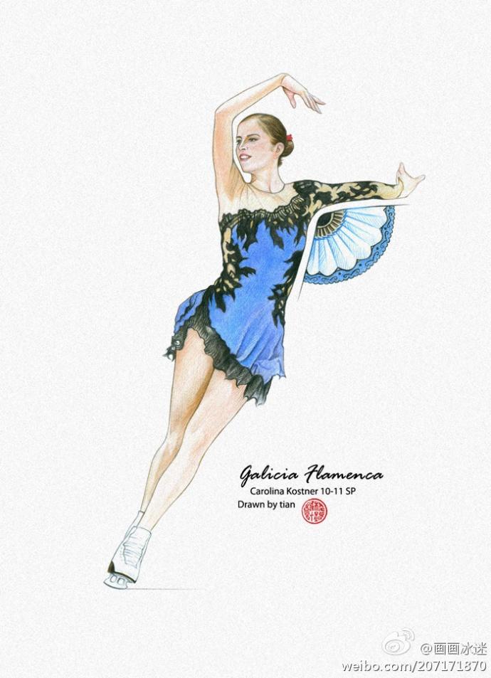 Carolina Kostner - Galicia Flamenca   Drawn/Copyright by tian   #carolinakostner #figureskating Visit artist's twitter for more: https://twitter.com/tian_skating