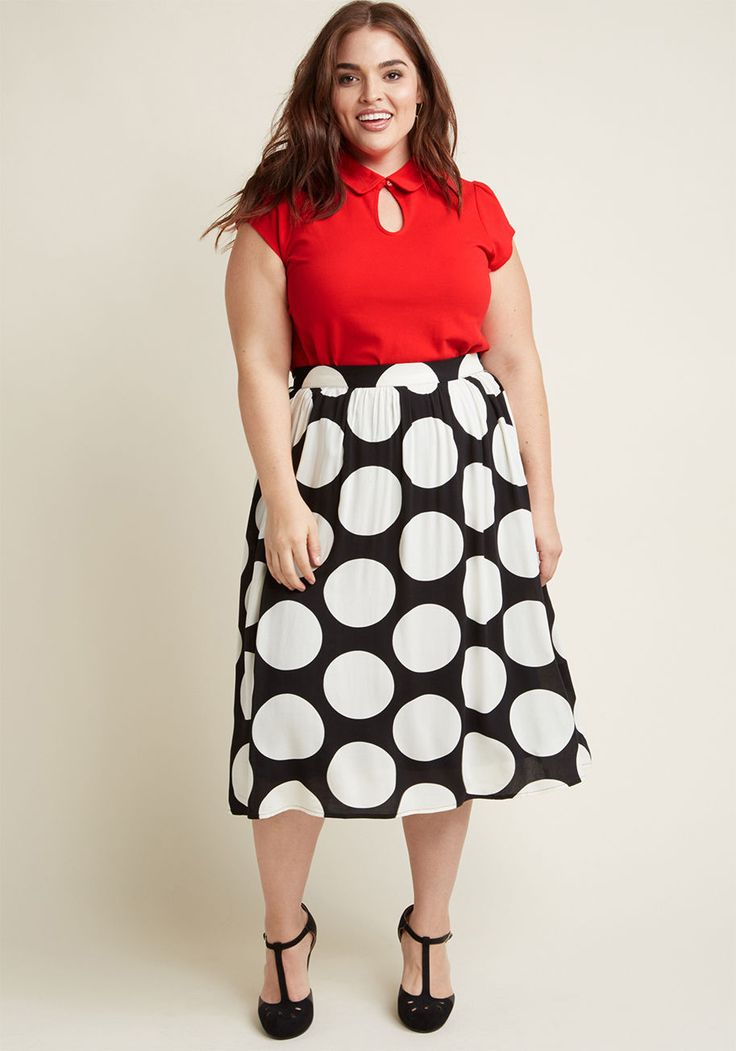 Woven A-Line Skirt with Pockets in Black Dot - Your blouses, sweaters, and tees sure could use a new pal - how about this black midi skirt? A charming companion from our ModCloth namesake label, this rayon challis number is an excellent match for your pre-existing pieces with its high waist, big white dots, and hidden pockets. Name a more playful pairing - we'll wait!