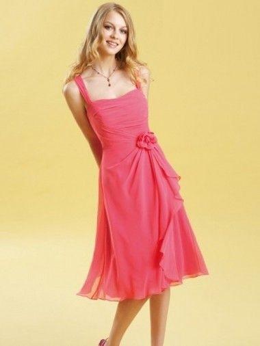 Square Neck Tiered Chiffon Knee Length Flowers Pink Sweet Sixteen Dresses UK