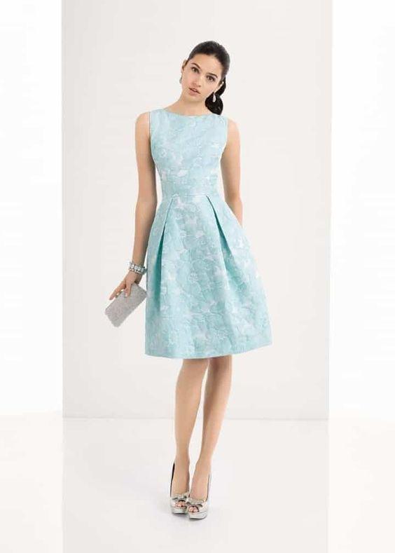 1U118, Aire Barcelona Vestido corto, brocado, azul celeste, falda con pliegues