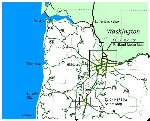 Map of Northwest Oregon- Camera's showing the road conditions.