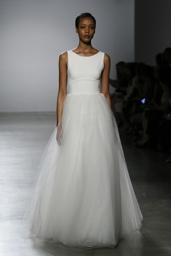 White Bateau Bridal Dress with Belted Bodice and Tulle Skirt | http://brideandbreakfast.ph/2015/08/28/amsale-bridal-spring-2016/ | Designer: Amsale