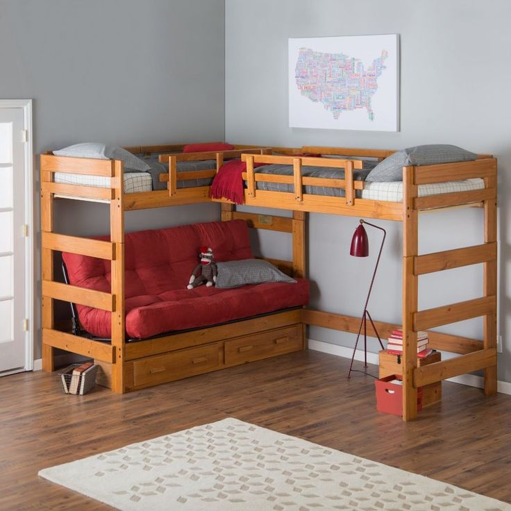 9Woodcrest Heartland Futon Bunk Bed with 2 Loft Beds With Storage #WoodcrestManufacturing