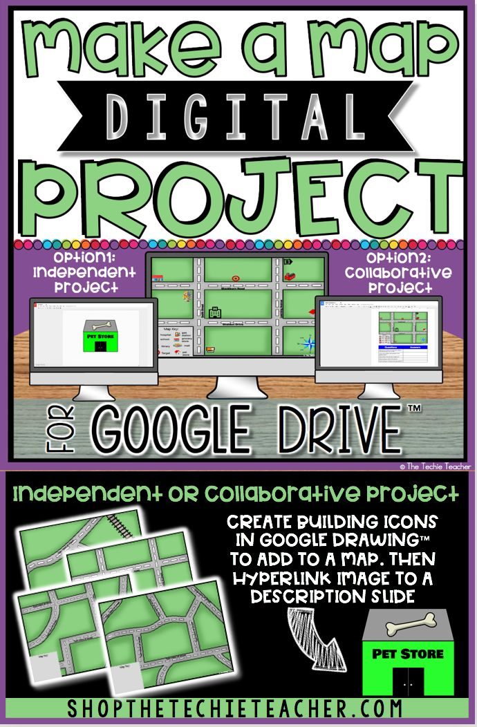Make a Map Digital Project in Google Drive™️ is a great way for students to exploremap skills. It would even be a nice addition to a social studies unit oncommunities. This paperless activity can be used as an independent project or collaborative project in which students work together to create an interactive map. Google Slides™️ and Google Drawing™️ are used. Step by step directions, video tutorial and editable rubric are all included.