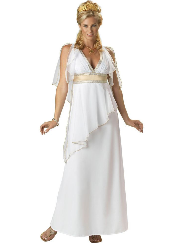 #3024 Travel to Greece this Halloween as the Greek Goddess. The Greek Goddess Costume includes a white, full length chiffon trimmed gown with gold Greek-key embellishment. The gold leaf tiara and coin