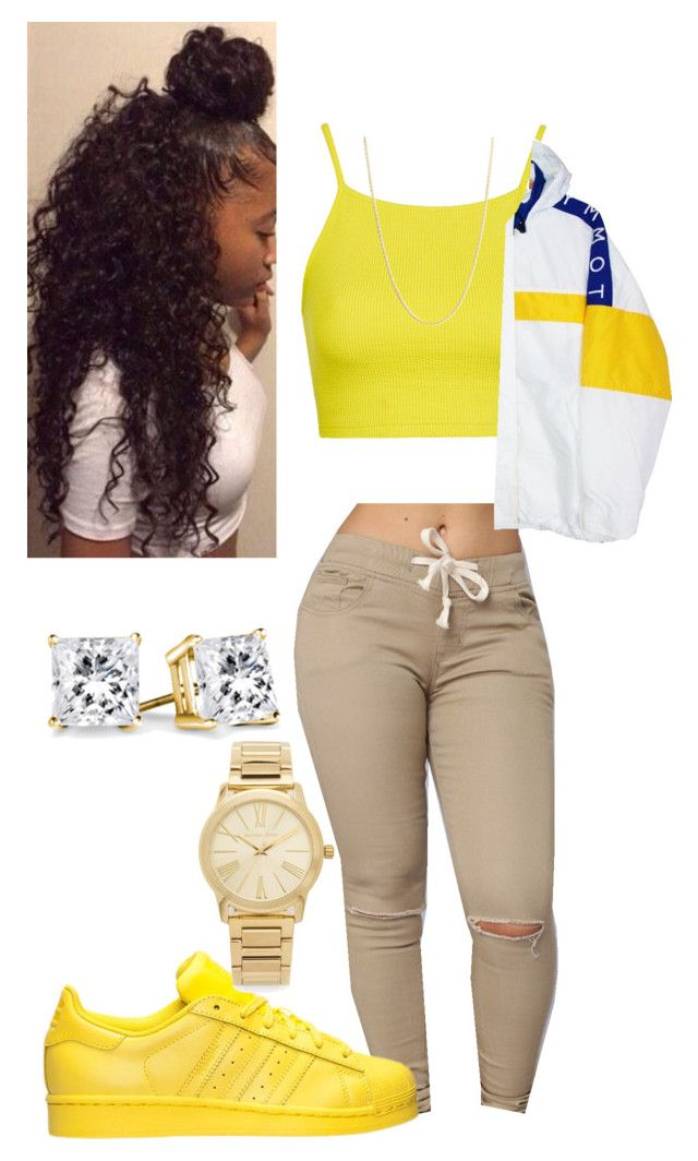 """""""Untitled #9"""" by r3albaddie ❤ liked on Polyvore featuring Topshop, Sevil Designs, adidas, Tommy Hilfiger and Michael Kors"""