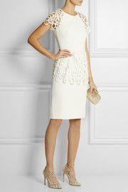 Lela RoseLace-trimmed stretch-crepe dress
