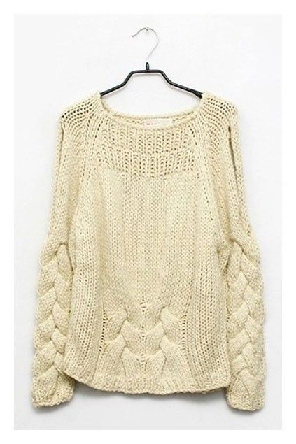 Chunky Cable Knit Jumper with Cut-out Shoulder