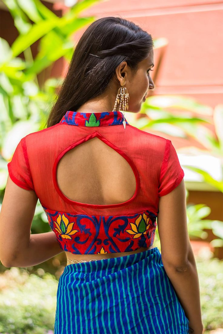 Ready to shop blouses | House Of Blouse   We are pouring inspired blouse designs this monsoon! A super cool red thread worked number with a sheer yoke and back. And a collared front open style with a subtle slit and a satin edged cutout back. Yup it's lovely…   A blue saree, a yellow saree, a red saree or even green…Pair away. Want a different kind of a look? Pair with a black saree…