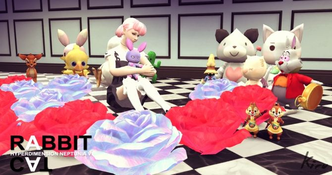 Hyperdimension Neptunia Victory Cat × Rabbit at Kiru • Sims 4 Updates