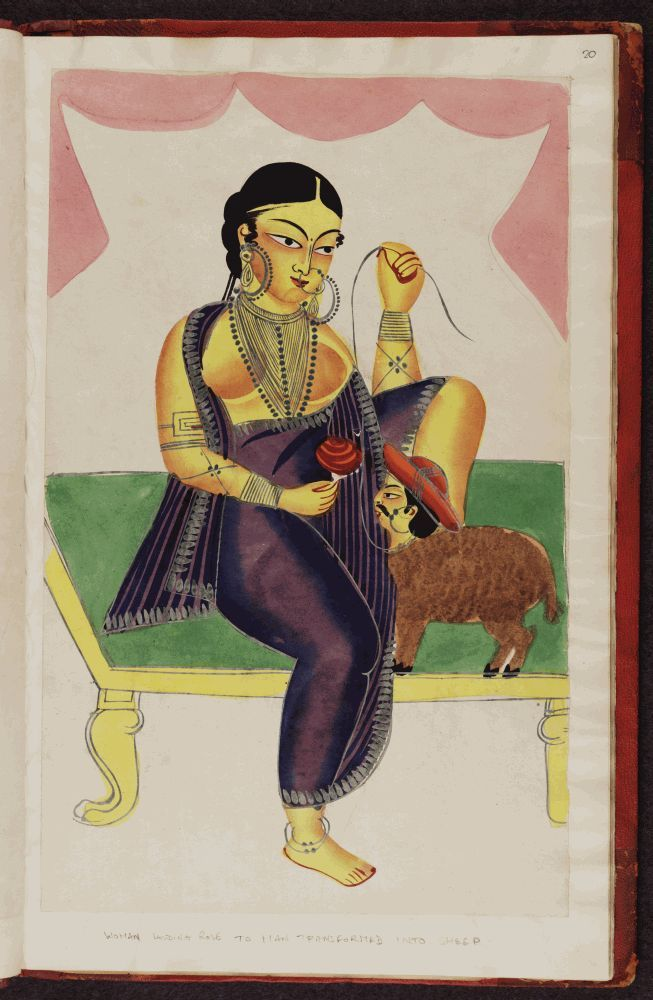 Kalighat painting –  a courtesan and her admirer