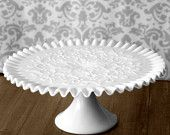 Milk Glass Cake Stand / Vintage Cake Stand Cake Pedestal for Classic White Weddings / Cupcake Stand / Ruffle Embossed MilkGlass Cakestand