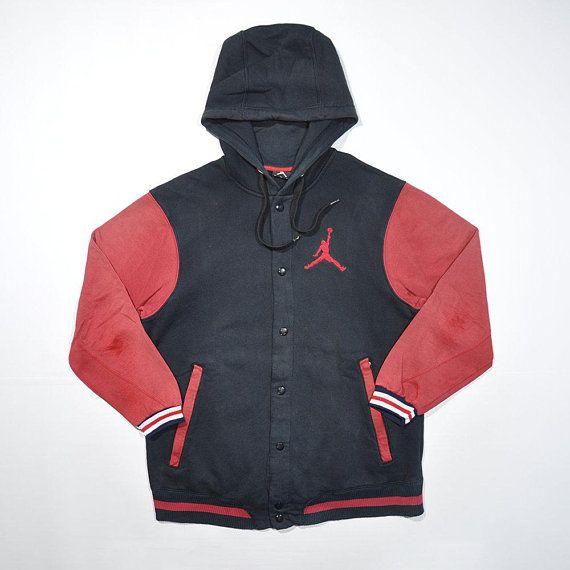 Rare Vintage 90s Jordan Nike Windbreaker Hoodie Varsity Jacket Retro Nike Air Jordan Jumpman Multi Color Varsity Hoodie Jacket Varsity Jacket Vintage Outfits