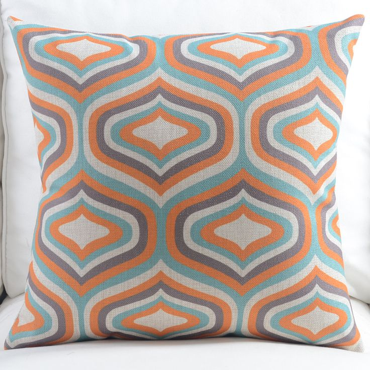 New Linen Pillow Cover Vintage Blue Orange Geometric Cushion Cover Nordico Style Home Decorative Pillow Case 45x45cm/30x50cm