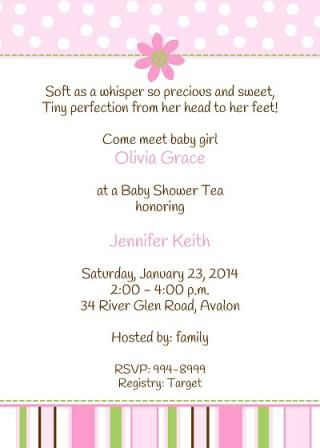 Come meet the new baby! Baby Shower Invitation for after the baby arrives with pink daisy ...