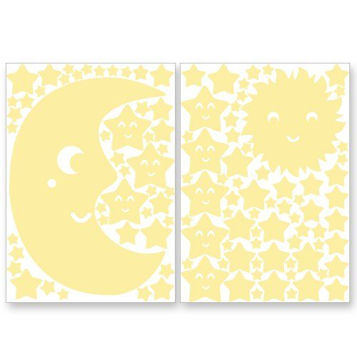 """Autocollants lumineux de Wandkings """"Set XL avec soleil, lune et étoiles"""" 114 autocollants sur 2 feuilles A4, fluorescents et lumineux dans l'obscurité Wandkings.de http://www.amazon.fr/dp/B00HR8ONNS/ref=cm_sw_r_pi_dp_W0-jwb08FH8DM"""