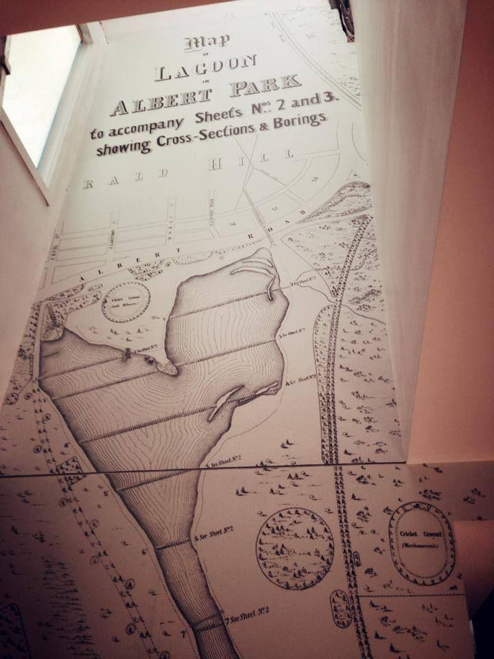 grafico wall coverings/ Digital Print Wallpaper: The Block_ Albert Park Map Wallpaper_ Chantelle & Steve's stairwell.
