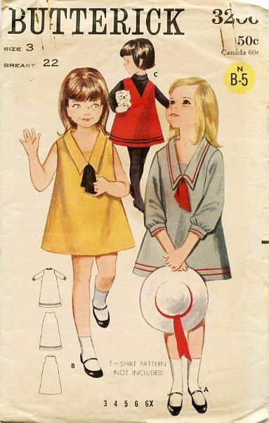 1960's Butterick 3266 Sewing Pattern: Girls' Dress by MiaLettingGo