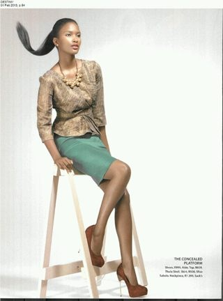 Green stretch satin pencil skirt by me in destiny magazine feb 2013 issue!!